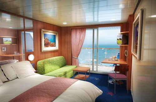 Imagen de un Camarote con balcón del barco Norwegian Dawn de Norwegian Cruise Line