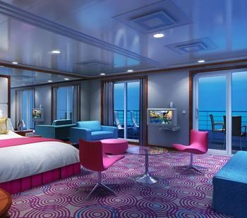 Imagen de una suite del barco Pride of America de la Naviera Norwegian