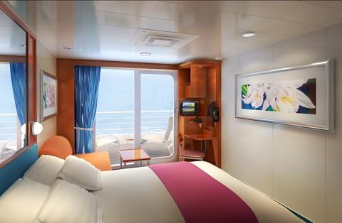 Imagen de un camarote con balcón del barco Pride of America de la Naviera Norwegian