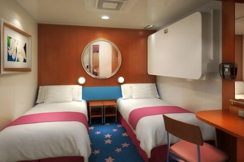 Imagen de un camarote interior del barco Pride of America de la Naviera Norwegian
