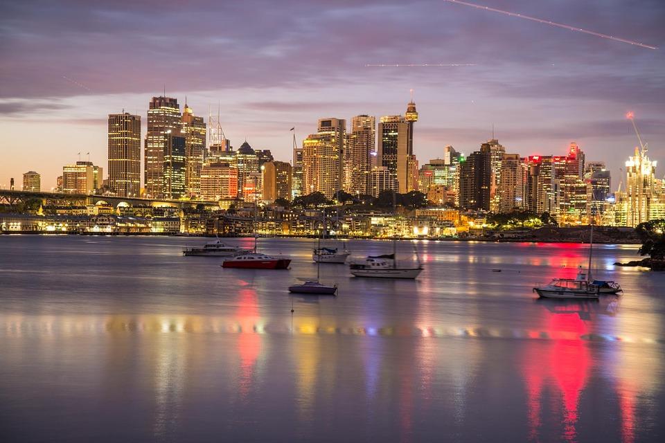 Puerto de cruceros de Sydney Vista de la bahía