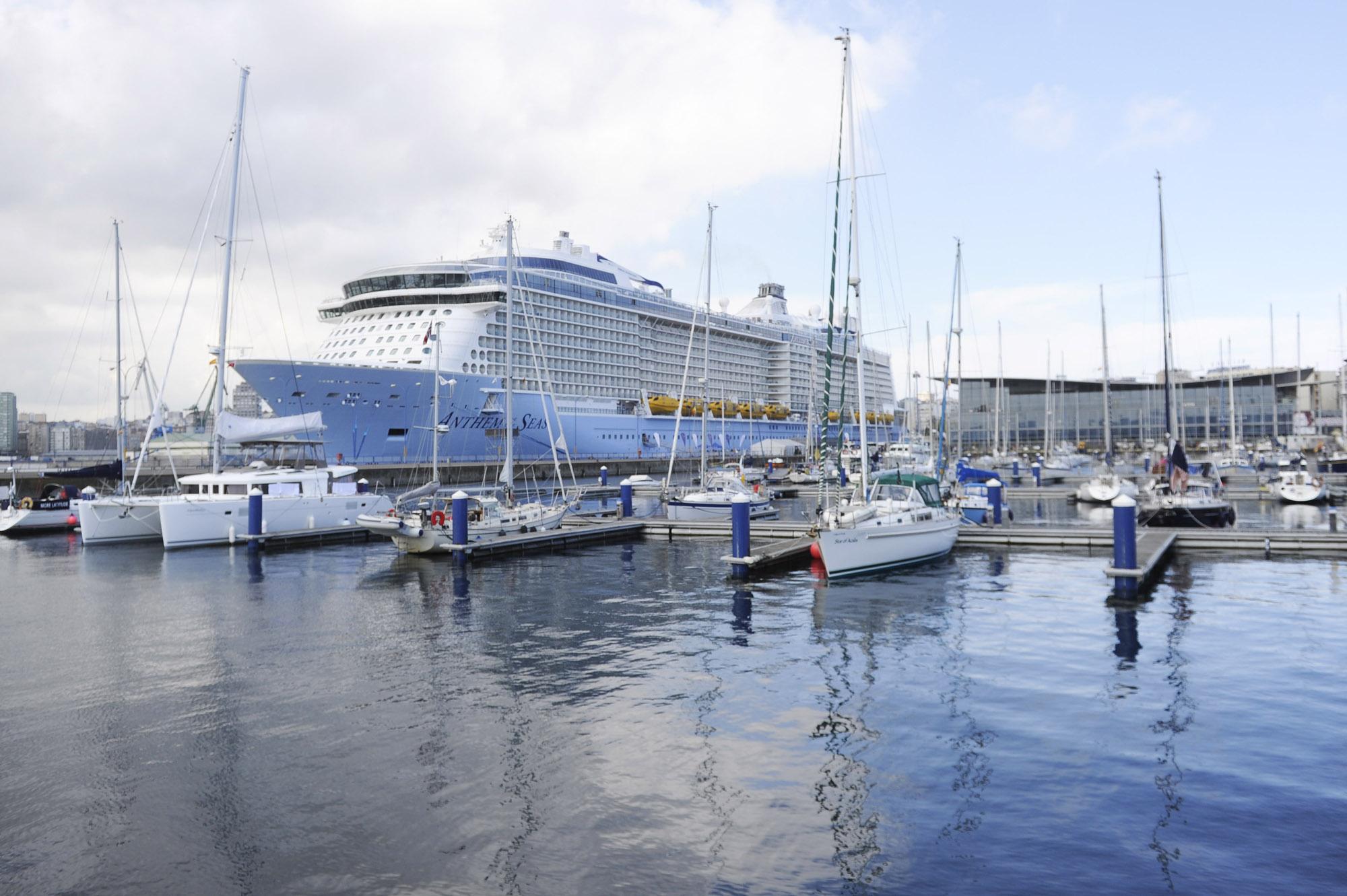 El Anthem of the Seas de Royal Caribbean es el barco de cruceros más grande que ha atracado hasta el momento en el Puerto de A Coruña