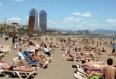 image de port de Barcelone, vue de la plage de la Barceloneta
