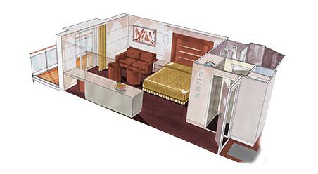 Imagen de una Suite Deluxe del barco MSC Meraviglia