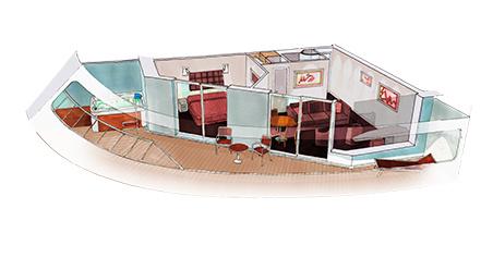 Imagen de una Suite con balcón del barco MSC Meraviglia